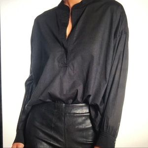 Vince Trapunto Long Sleeve Pullover Blouse